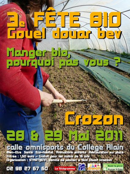 Affiche foire bio de Crozon, venez y rencontrer Jeujouéthique